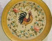 Vintage Yellow Paper Mache Rooster Plate  Handpainted ECS sct schteam