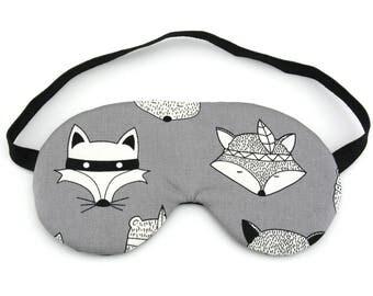 Tribal Foxes on Grey Sleep Eye Mask, Sleeping Mask, Travel Mask, Sleep Mask, Travel Gift