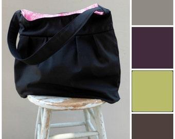 Custom Black Diaper Bag - Custom Interior Fabric - 6 Pockets - Key Fob