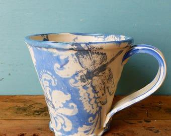 Dragonfly Mug - Blue White - Handmade Dragonfly Gift