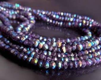 Genuine Purple Amethyst Rondelles with AB Aurora Borealis Finish