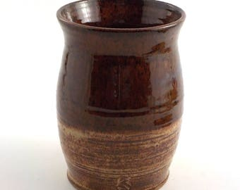 Ceramic Utensil Crock - Stoneware Wine Chiller - Handmade Kitchen Accessory - Cooks Tool - Vase - Speckle Tan / Brown - Ready to Ship  v593