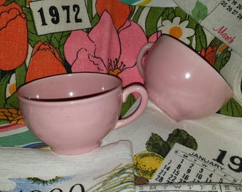 2 Pink California pottery coffee tea cups 1940s / 1950s