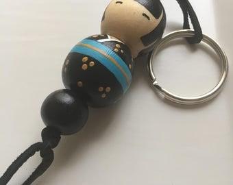 KOKESHI DOLL Keychain Hand Painted