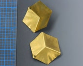 """Vintage 3-d brass cube. 1 1/2"""". Brass charm, vintage component, vintage supplycharm, jewelry supplies, jewelry making. Two per pack."""