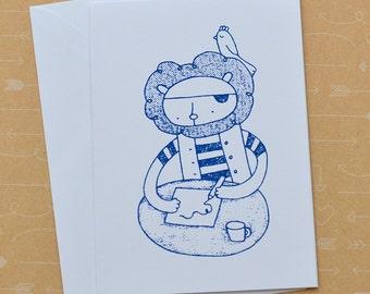 Pirate Lion Screenprinted Card