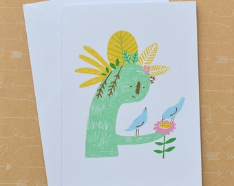 Plant Sculpture and Birds Screenprinted on White Card