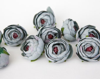 10 Small Vintage Inspired Ranunculus Buds in Blue Stone Gray - silk artificial flower, millinery flower - ITEM 01011