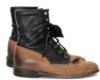 Justin Boots 80s Brown/ Black Leather Granny Lace Up Justin Boots Sz 5.5