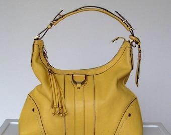 Vtg. Cole Haan Hobo Bag Purse Mustard Yellow Faux Leather Tassel Shoulder bag