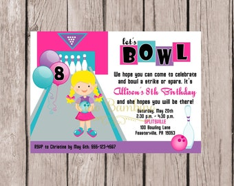 PRINTABLE Bowling Birthday Party Invitation for Girls / 5 x7 Bowling Party Invitation in Pink, Purple & Blue / Choose Hair Color / You Print