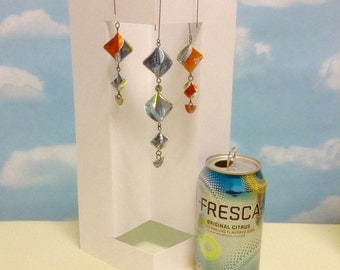 Upcycled Christmas Ornaments Repurposed Fresca and Orange Soda Cans