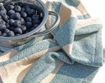 Handwoven Teal Tea Towel/ Kitchen Towel/ Cotton Towel/ Hand Towel/ Guest Towel/ Dish Towel/ Striped Towel/ Blue Tea Towel/ Blue Towel