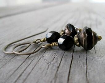 Black Earrings - Every Day Earrings - Titanium Earrings - Gift for Her - Jewelry - Handmade - Hypoallergenic Earrings - Boho Jewelry