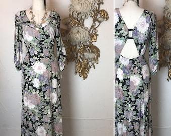 Fall sale 1990s dress floral dress maxi dress size medium large Vintage dress backless dress Barbara Barbara rayon dress