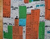 VINGTAGE mod silk FABRIC skyscraper city street