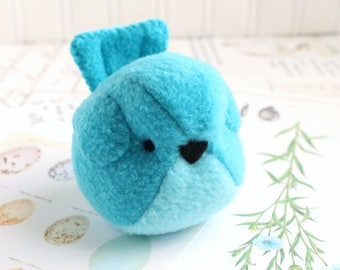 Fleece Bluebird Kawaii Plush Bird Turquoise Blue and Aqua Handmade Blue Bird Stuffed Animal Plush Bird Bubbletime Plush Fleece Bird