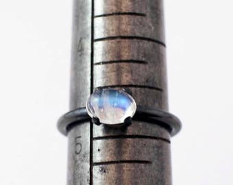 Moonstone Ring Blackened Silver AA Grade