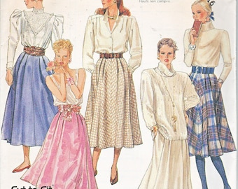 McCalls 3230 Misses Flared Skirt Side Seam Pockets Length Options Easy Vintage 80s Sewing Pattern Sizes 12-16 Out of Print UNCUT