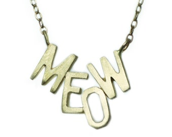 MEOW Necklace in 10K Gold with 14K Gold Chain