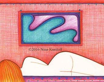 Original Art Female Woman artistic Reclining Nude Redhead Colorful Drawing