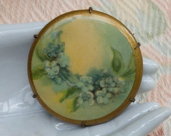 Vintage Celluloid Pin Brooch Forget me knot Flowers