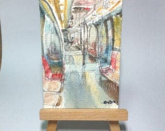 Empty Subway, original aceo watercolor painting,  atc id1370129 miniature art landscape,  transport, train