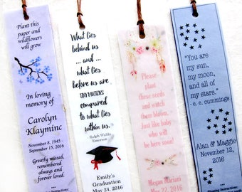 40+ Seed Paper Bookmarks Wedding Favors Plantable Flower Seed Paper Bookmark - Personalized Custom Designs - Bohemian Woodland and more