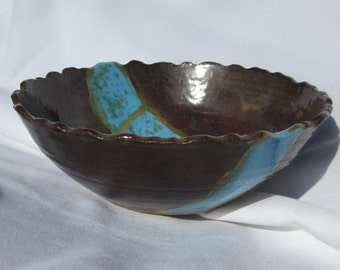 Bowl Rocky Mountain in Blue and Brown - Great for Serving - Handmade and Carved Pottery