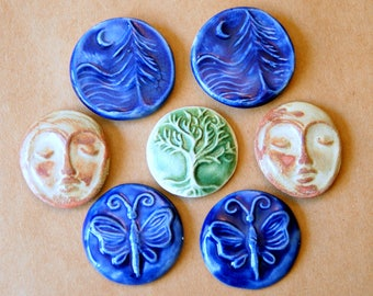 7 Ceramic Mosaic Tiles - Tree of Life - Mediation Face - Butterfly  Cabochons for Jewelry or Adornment