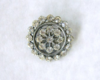 Vintage Rhinestone in Metal Button