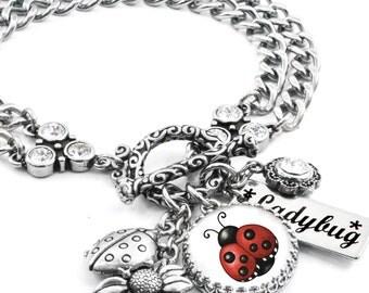 Lady Bug Jewelry, Bug Bracelet, Good Luck Jewelry, Lucky Bracelet, Red and Black Jewelry