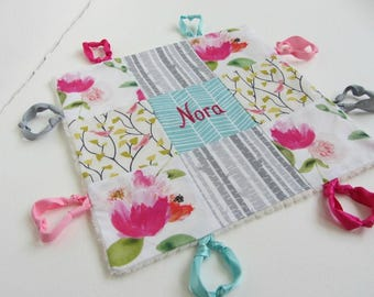 Personalized Baby Lovey Girl Name or Initial Hand Embroidered ~Choice of Backing Fabric ~Birds Peony Birch ~Floral Nursery ~ Aqua Pink White