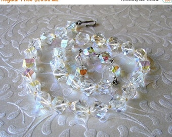20% SALE 1950s Vintage Crystal Necklace Hexagon Step Cut 50s Beaded Choker Chunky Nugget Wedding Bridal Prom Formal Ballroom Pageant Bohemia
