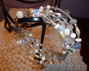 Memory Wire Bead Wrap Bracelet, Variety of Quality Beads, Cream, White, Clear Glass Beads, Pearls, Gemstones, Perfect for Summer or Wedding
