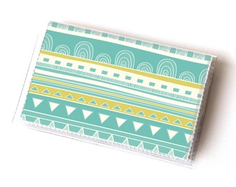 Vinyl Card Holder - Welcome Spring  / card case, vinyl wallet, women's wallet, small, pretty, tribal, green, yellow, geometric, snap