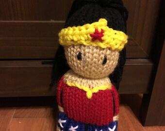 Wonder Woman amigurumi comfort doll hair in ponytail