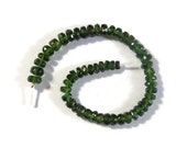 Cyber Monday SALE - Chrome Diopside Gemstone Beads, Faceted Rondelles, 4 Inch Strand, Jewelry Supplies, 3mm-3.5mm or 3.5mm-4mm (Luxe-Cd1b)