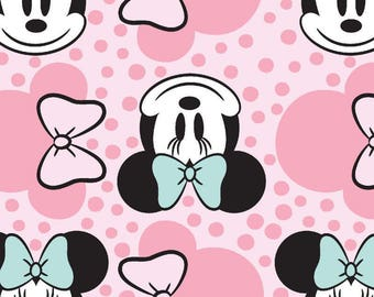 Pink Polka dots Minnie Mouse fabric, 1/2 Yard