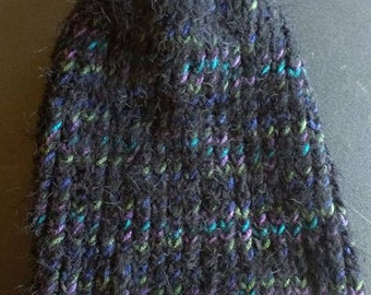 SPRING CLEARANCE SALE!! ooak hand knitted slouchy warm winter hat black fuzzy blue turquoise purple green