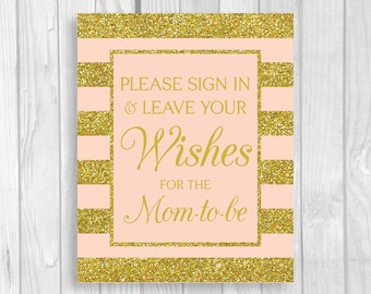 SALE Please Sign In & Leave Your Wishes for Mom-to-Be 5x7 or 8x10 Printable Baby Shower Guest Book Sign in Pink and Gold Glitter Stripes
