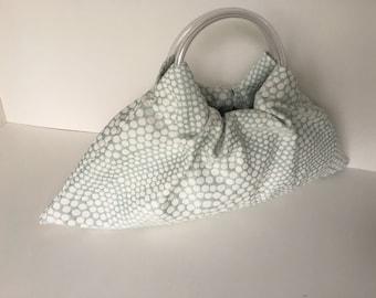 Small Rain Triangle Hobo Purse - Handmade Handbag Tiny Mint Green Dots Upholstery with Clear Vinyl Tubing Handles