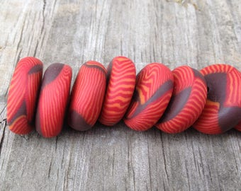 Chocolate Brown Disks With Orange and Red Striped Cane Handmade Polymer Clay Bead Set Jewelry Supplies