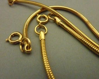 2 Gold Snake Chain Necklaces - Complete - Vintage 15 in