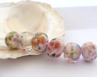 6 Pink Frit Beads Handmade Lampwork
