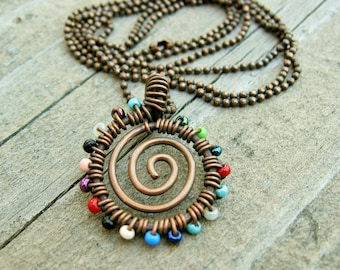 Seed Bead Wire Wrapped Necklace - Spiral Swirl Pendant Necklace of antiqued copper and multi-color glass seed beads