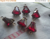 ON SALE 18% off Siam Ruby Red 8mm Bell Brass Ox Connectors Two Loops 6 Pcs