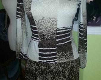 Ultra Chic Vintage Mixed Print Knit Dress