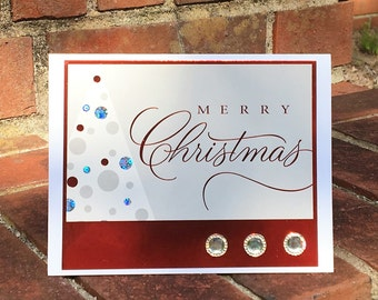 OOAK Recycled Merry Christmas Card w/ Envelope