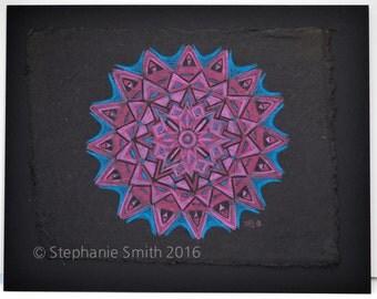 Original Expressive Mandala Colored Pencil Drawing: Joyful Heart